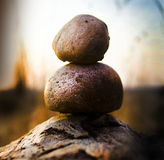 Stones stacked. Two round stones stacked on top of each other Stock Photos