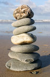 Stones stacked. On the beach Royalty Free Stock Photography