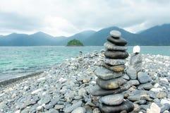 Stones stacked. On HIN NGAM Island, TARUTAO National Park, Thailand Stock Photos