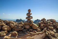 Stones. Stacked pile on top of the mountain stock photo