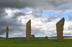 Standing Stones of Stenness, Neolithic megaliths in the island of Mainland Orkney, Scotland. The Stones of Stenness are five remaining megaliths of a henge, the Stock Photo