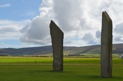 Standing Stones of Stenness, Neolithic megaliths in the island of Mainland Orkney, Scotland. The Stones of Stenness are five remaining megaliths of a henge, the Royalty Free Stock Photography