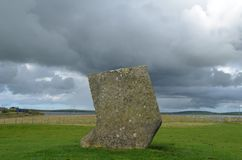 Standing Stones of Stenness, Neolithic megaliths in the island of Mainland Orkney, Scotland. The Stones of Stenness are five remaining megaliths of a henge, the Royalty Free Stock Photo