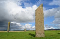 Standing Stones of Stenness, Neolithic megaliths in the island of Mainland Orkney, Scotland. The Stones of Stenness are five remaining megaliths of a henge, the Stock Photography