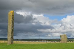 Standing Stones of Stenness, Neolithic megaliths in the island of Mainland Orkney, Scotland. The Stones of Stenness are five remaining megaliths of a henge, the Royalty Free Stock Image