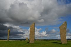 Standing Stones of Stenness, Neolithic megaliths in the island of Mainland Orkney, Scotland. The Stones of Stenness are five remaining megaliths of a henge, the Royalty Free Stock Images