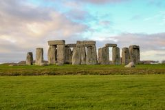 The stones of Stonehenge, a prehistoric monument in Wiltshire, England. UNESCO World Heritage. Ancient uk salisbury bc site old landscape grass tourism circle royalty free stock photo