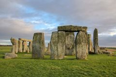 The stones of Stonehenge, a prehistoric monument in Wiltshire, England. UNESCO World Heritage. Ancient uk salisbury bc site old landscape grass tourism circle royalty free stock images