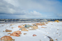 Stones at stormy coastline of Riga bay Stock Photography