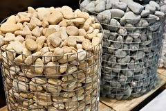 Stones for stove in sauna. Stones for a stove in a sauna Stock Photo
