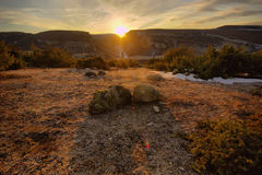 Stones at sunrise in the mountains Royalty Free Stock Photos