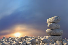 Stones that tell to support each other. 3D Rendering, Stock Image