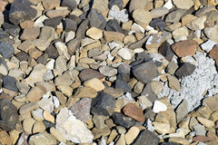 Stones textures. On a floor of pebbles with various measures stock photo