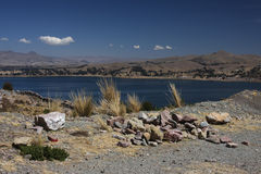 Stones on Titicaca lake banks Stock Photo