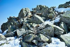 Stones on the top of Chopok in Low Tatras. Stones on the top of Chopok in Low Tatras in Slovakia Stock Photos