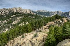 Stones, trees and mountains of La Pedriza Regional Park in Madrid Spain stock photography