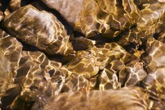Stones under river. Stones under water. Sunlight, quick river and ripples Royalty Free Stock Photo