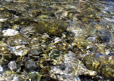 Stones under water. Mounting river stones under water flow Stock Images