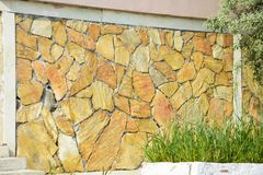 Stones Wall Texture. yellow color royalty free stock photography