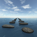 The stones in the water. Blue clou sky. Square format images Royalty Free Stock Image