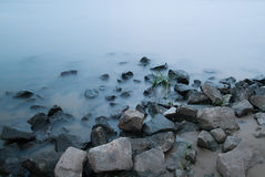 Stones and water. Background, stones and water on long exposure Stock Photo