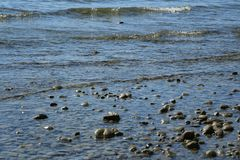 Stones in water river or lake. Stones in the water, waves, beach in Germany, vacations, summer, sunny day on the beach, stony surface, nice weather, river or royalty free stock photography