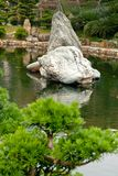 Stones in the water. Stones in the small lake in the garden. Nan Lian Garden Stock Photo