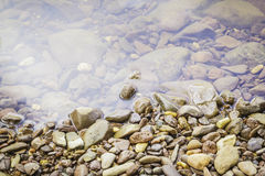 Stones and water surface. In the riverside Stock Photography