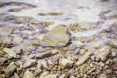 Stones and water surface. In the riverside Royalty Free Stock Photos