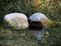 Stones in water. Two stones in fresh water Royalty Free Stock Photos