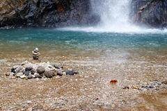 Stones in Waterfall at deep jungle Stock Image