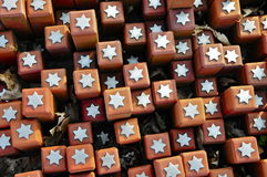 102.000 Stones in Westerbork transit Camp. Close-up of of some of the 102.000 bricks with Stars , representing 102.000 Individuals deported from Westerbork Stock Image