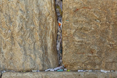 Stones of the western wall with Notes Stock Images