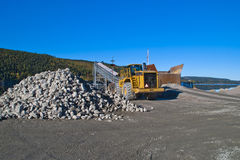 Stones and wheel loader on brekke quarries. Stock Photography