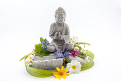Free Stones Whit Flower And Buddha Stock Photo - 69265670