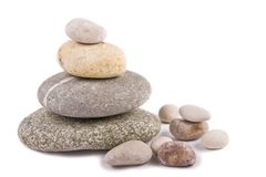 Stones on white background. Isolated zen-like stones, harmony, balance, pebbles Stock Photos