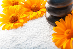 stones on white towel with orange golden-daisy flower Royalty Free Stock Images