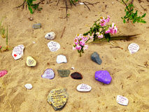 Stones with wishes. At Silver Sands State Park in Milford Connecticut Stock Photos