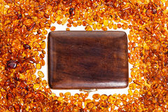 Stones of yellow amber . Royalty Free Stock Photos