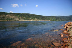 Stones on Yenisei River bank near Divnogorsk, Russia Royalty Free Stock Photography
