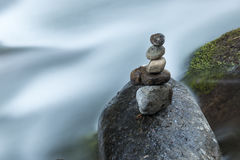 Stones in a zen position in a river in Costa Rica Stock Photography