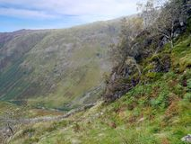 Stonethwaite dal under, från Eagle Crag arkivbild