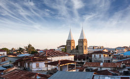 Stonetown zanzibar roof-top view over city. Showing rusted zince roof's and church spires Royalty Free Stock Photography