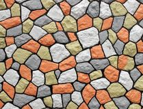 Stonewall. Colorful painted stone wall background Royalty Free Stock Image