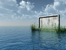 Stonewall. Blank stone board at the ocean - 3d illustration Stock Photos