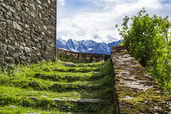 Stonewall in the alps Stock Photography