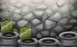 A stonewall. Illustration of a stonewall with tire Royalty Free Stock Image