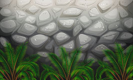 A stonewall with plants. Illustration of a stonewall with plants Royalty Free Stock Photos