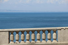 Stonewall with the sea. At Sorento Italy stock images