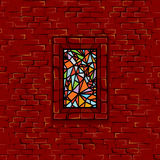 Stonewall Stained Glass Window Seamless Vector. Medieval Ages Stonewall with Stained Glass Window. Seamless Vector Pattern Stock Image